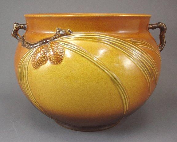 "7: Roseville Art Pottery PINECONE Jardiniere 402-8"""
