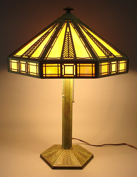 10: Arts & Crafts Slag Glass Bradley & Hubbard Lamp