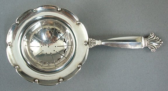 12: Georg Jensen Acanthus Sterling Silver Tea Strainer
