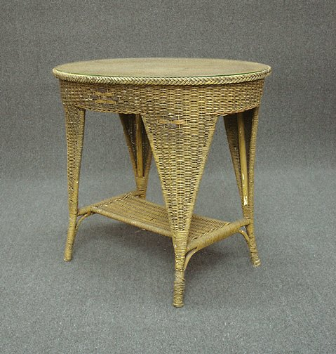 20: Vintage Art Deco 1930s Oval Wicker Table