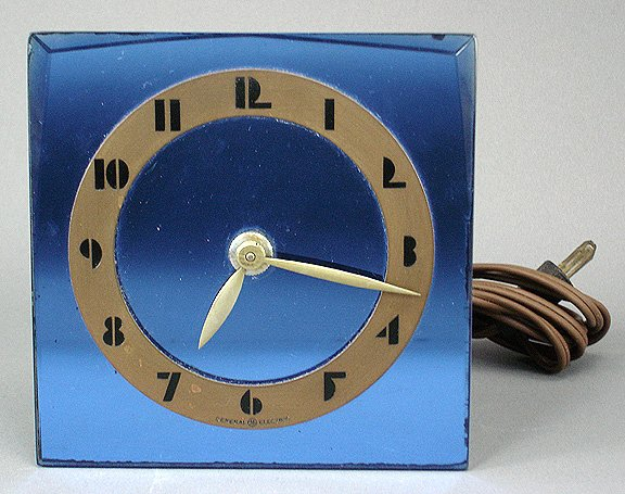 22: Art Deco Blue Mirror Glass GE Clock