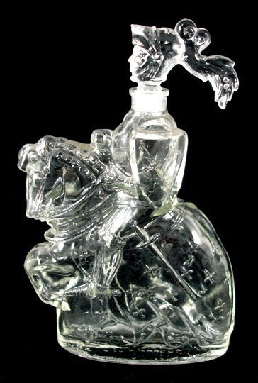 31: French Art Deco Glass Knight Perfume Bottle