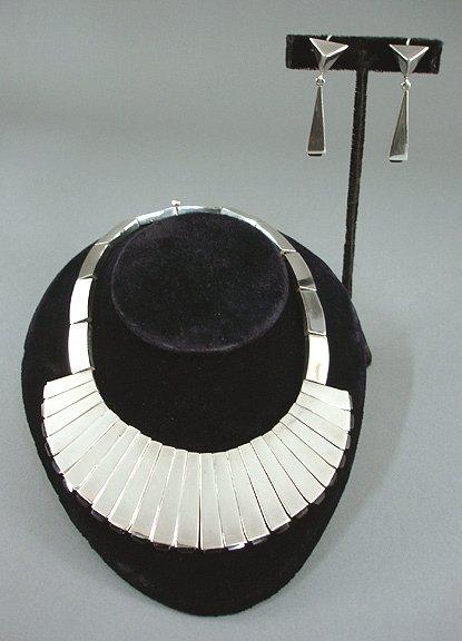 44: Antonio Pineda Mexican Silver Necklace & Earrings - 2