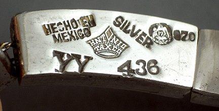 44: Antonio Pineda Mexican Silver Necklace & Earrings - 6