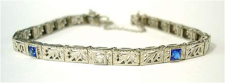 63 Art Deco Diamond Sapphire  14K Wt Gold Bracelet