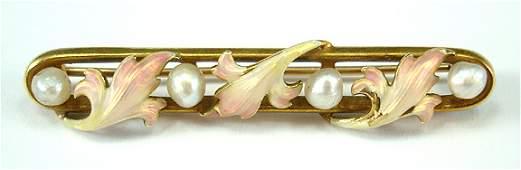 65: Enamel Art Nouveau Floral Fine 14K Brooch Pin