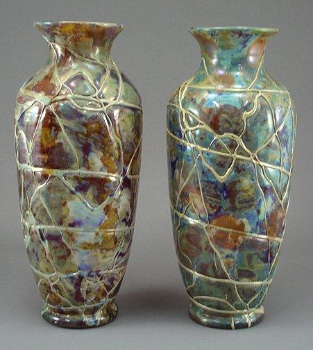 "145: Pair 1920s PALLME KONIG 13"" Loetz  Art Glass Vase"