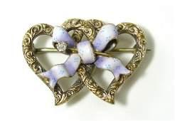 166 Fine Diamond Enamel 14K Gold Heart Ribbon Pin