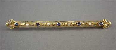 169 Art Nouveau Sapphire  Pearl 14K Gold Bar Pin