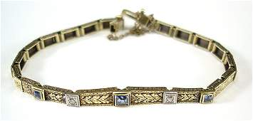 246 Art Deco Diamond  Sapphire 14K Gold Bracelet