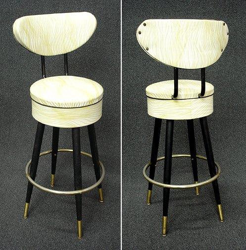 357: Retro Art Deco Mid Century Bar Stools (4)