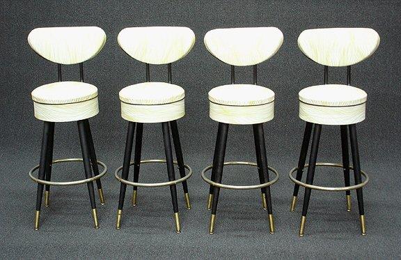 357: Retro Art Deco Mid Century Bar Stools (4) - 2