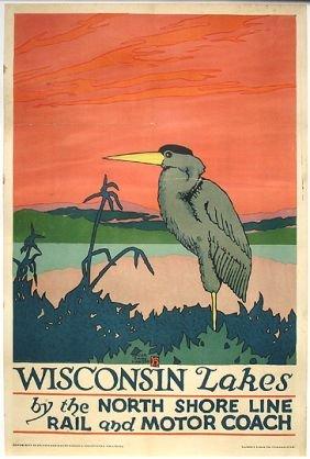 Original 1925 Chicago Transit RR Litho Travel Poster