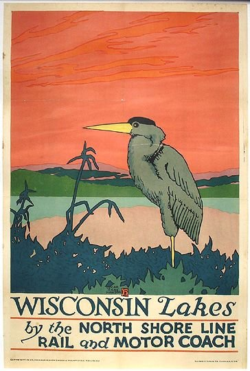 1: Original 1925 Chicago Transit RR Litho Travel Poster