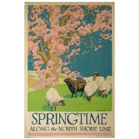 4: Original 1926 Chicago RR Travel  Poster Springtime
