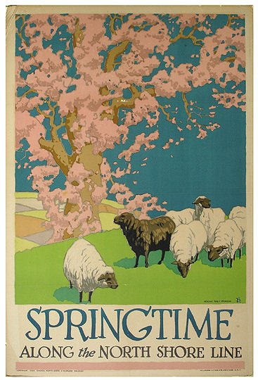 4: Original 1926 Chicago RR Travel  Poster Springtime