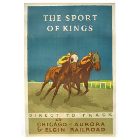 Original 1926 Chicago RR Horse Race Travel Poster