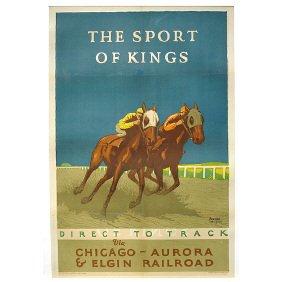5: Original 1926 Chicago RR Horse Race Travel Poster