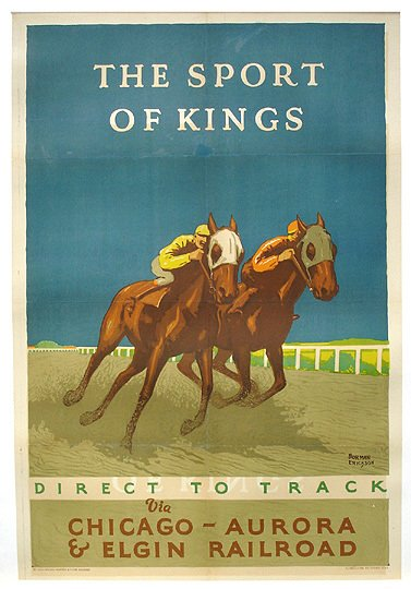 5: Original 1926 Chicago RR Horse Race Travel Poster