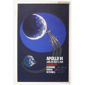 10: Original Astronaut Signed Apollo 14 Moon A/P Poster