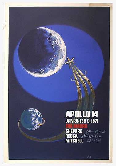 10: Original Astronaut Signed Apollo 14 Moon A/P Poster