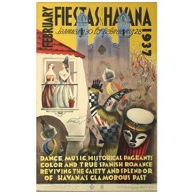 16: Original 1937 Havana Cuba Art Music Travel Poster