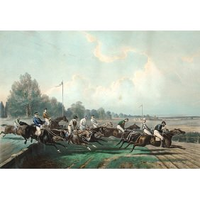 Grand Steeple Chase 19th C. Sporting Horse Print