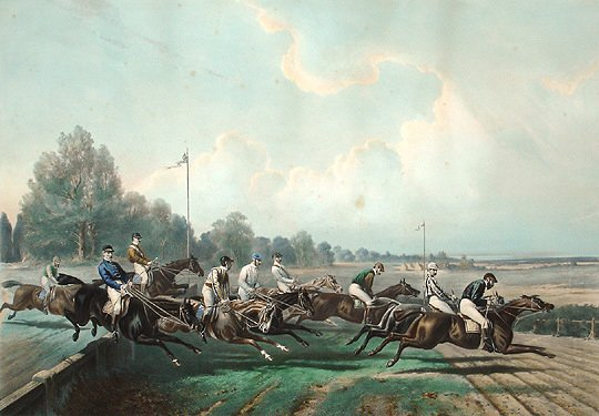 17: Grand Steeple Chase 19th C. Sporting Horse Print
