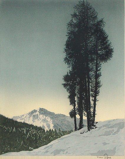 "20: Hans Figura ""Larchen"" Original Etching onSilk Print"