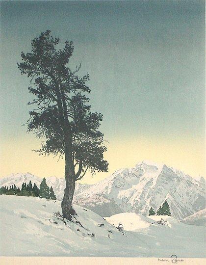 """21: Hans Figura  """"Zirbel"""" Original Etching onSilk Print"""