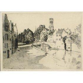 "23: Polly Knipp Hill ""Quas Vert, Burges"" Etching Print"