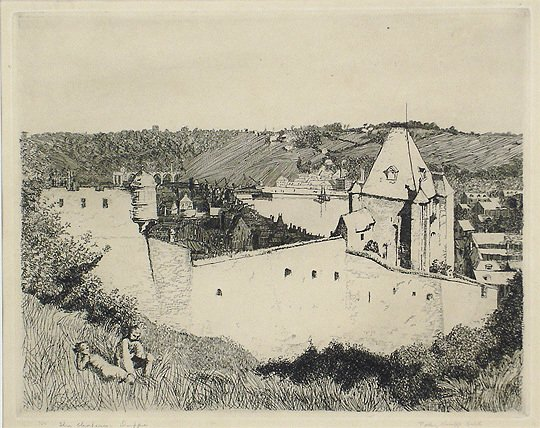 """25: Polly K. Hill """"The Chateau, Dieppe"""" Print Etching"""