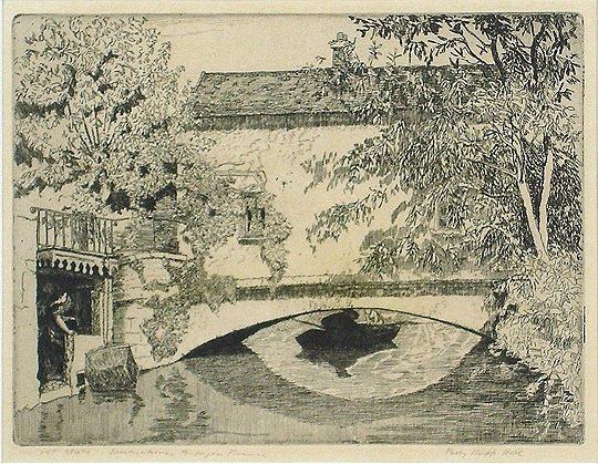 "26: Polly K. Hill ""Bridge House Harpajon,France"" Print"