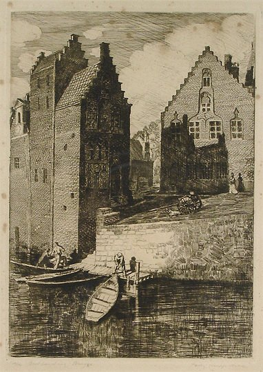"""28: Polly K. Hill """"Boat Landing, Bruges"""" Etching Printi"""