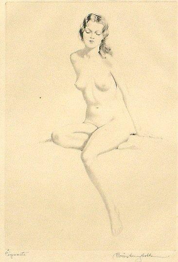 "29: Morris Henry Hobbs ""Piquante"" Nude Woman Print"