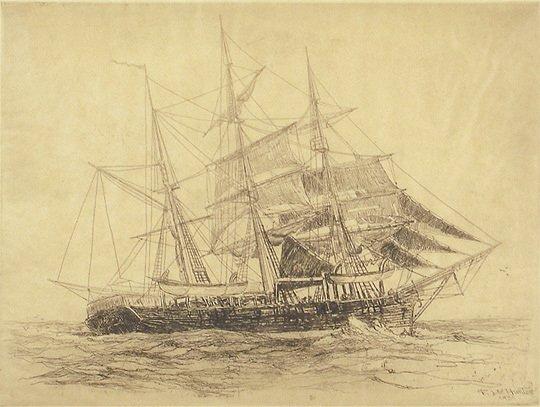 31: F Leo Hunter  Orig 1924  Whaling Ship Etching Print