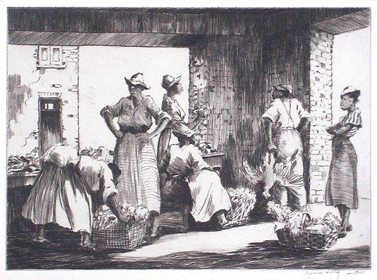 32: Alfred Hutty Charleston Farmers Market Org. Print