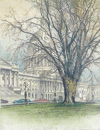 36: Robert Kasimir  U.S. Capital Original Etching Print