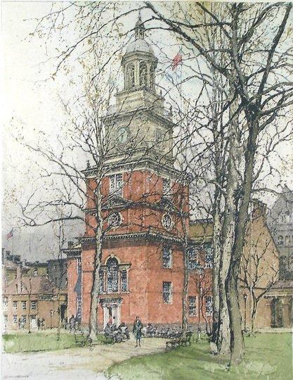 37: Luigi Kasimir  Independence Hall Org. Etching Print