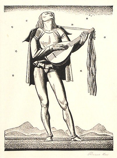 38: Original Signed Rockwell Kent Troubadour Print