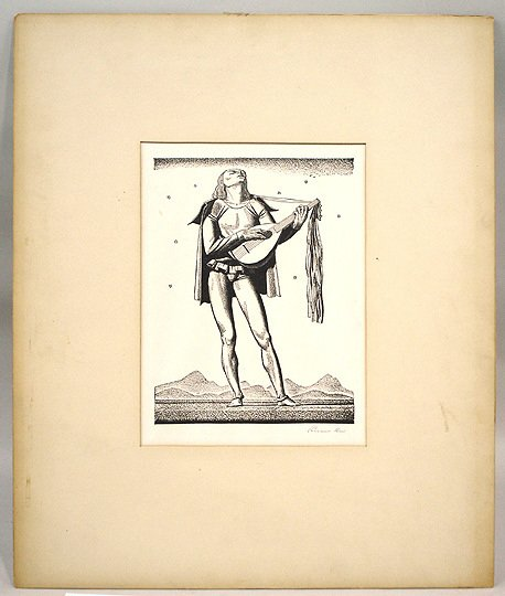 38: Original Signed Rockwell Kent Troubadour Print - 2