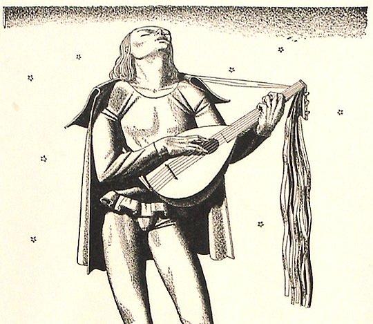 38: Original Signed Rockwell Kent Troubadour Print - 3