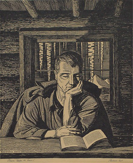 "39: Rockwell Kent ""Books Make the Home!"" Woodcut Print"