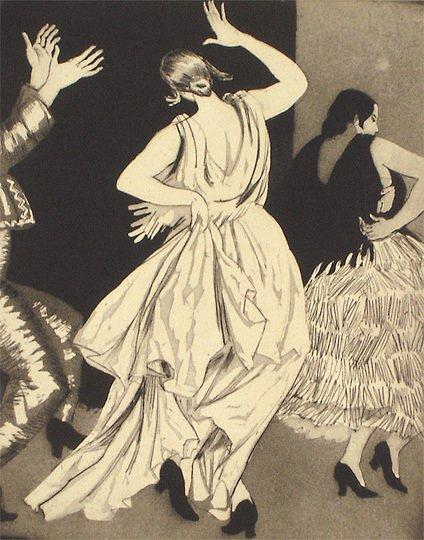 "40: Dame Laura Knight Original ""Dancers"" Etching Print"