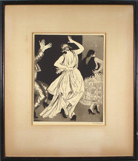 "40: Dame Laura Knight Original ""Dancers"" Etching Print  - 2"