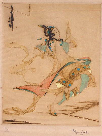 """41: Elyse Ashe Lord 1900-1971 """"The Dance Etching Print"""
