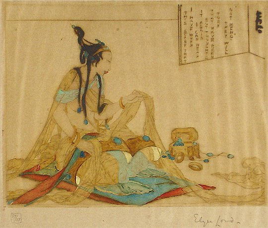42: Elyse Ashe Lord 1920s Original Color Etching Print