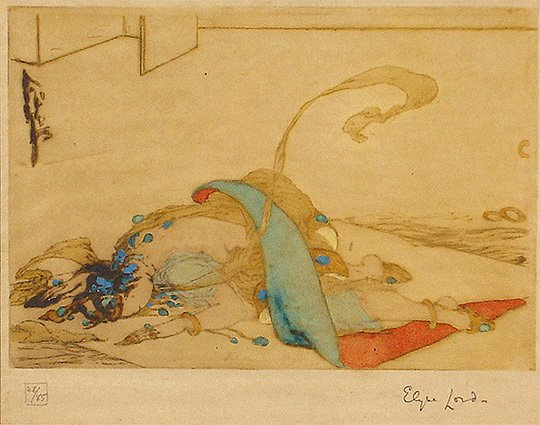 """43: Elyse Ashe Lord 1900-1971 """"After the Dance"""" Print"""