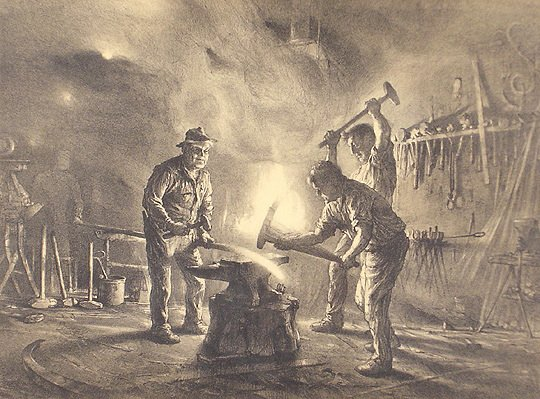 45: John Noble Orig. Lithograph Print Blacksmith & Sons