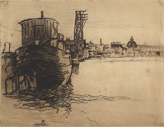 48: Orig. Joseph Pennell Schuylkill River Etching Print